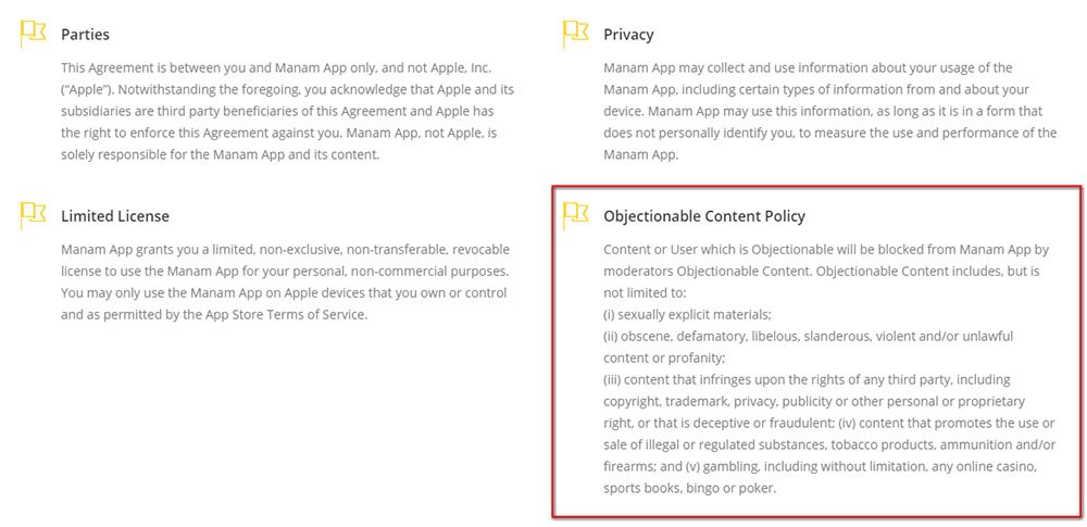 Manam App Terms & Conditions: Objectionable Content Policy