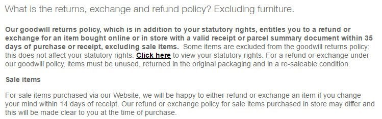 Marks & Spencer Return Policy FAQ