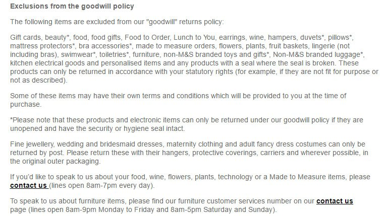Marks & Spencer Return & Refund Policy: Exceptions to returns