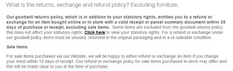 Marks & Spencer: Right of Withdrawal in Return & Refund Policy