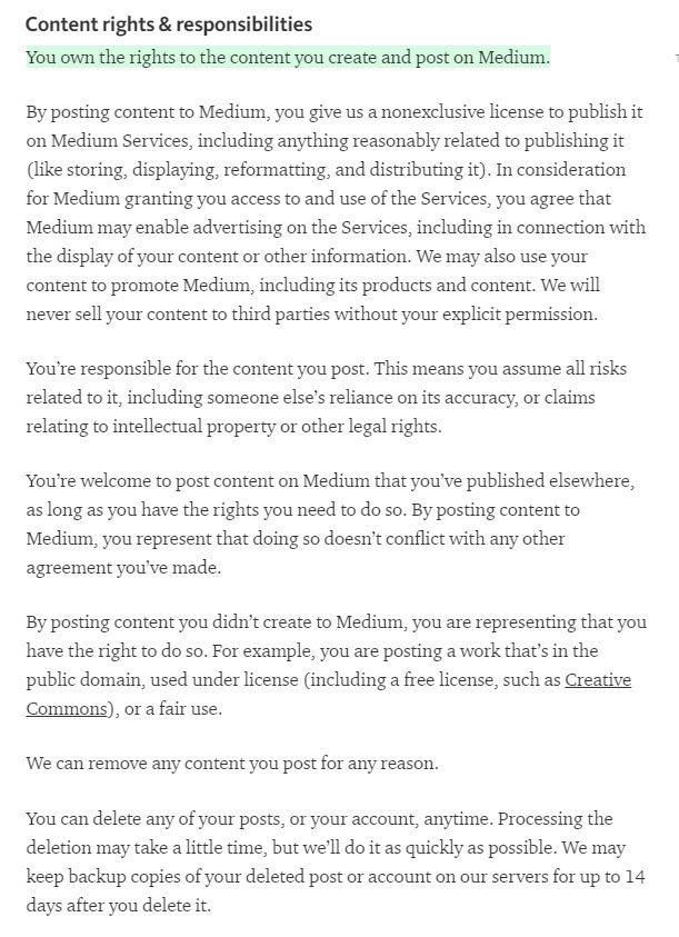 Medium Terms of Service: Content rights & responsibilities
