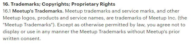 Meetup Terms & Conditions: Trademarks as intellectual property