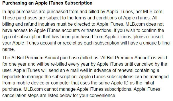 how to cancel mlb subscription on itunes