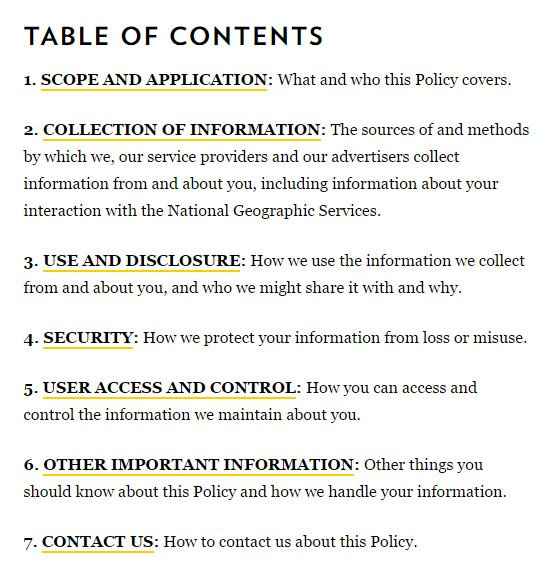 Table of Content from National Geographic Privacy Policy