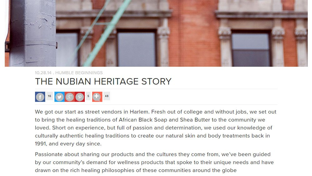 Nubian Heritage About Us page: The story
