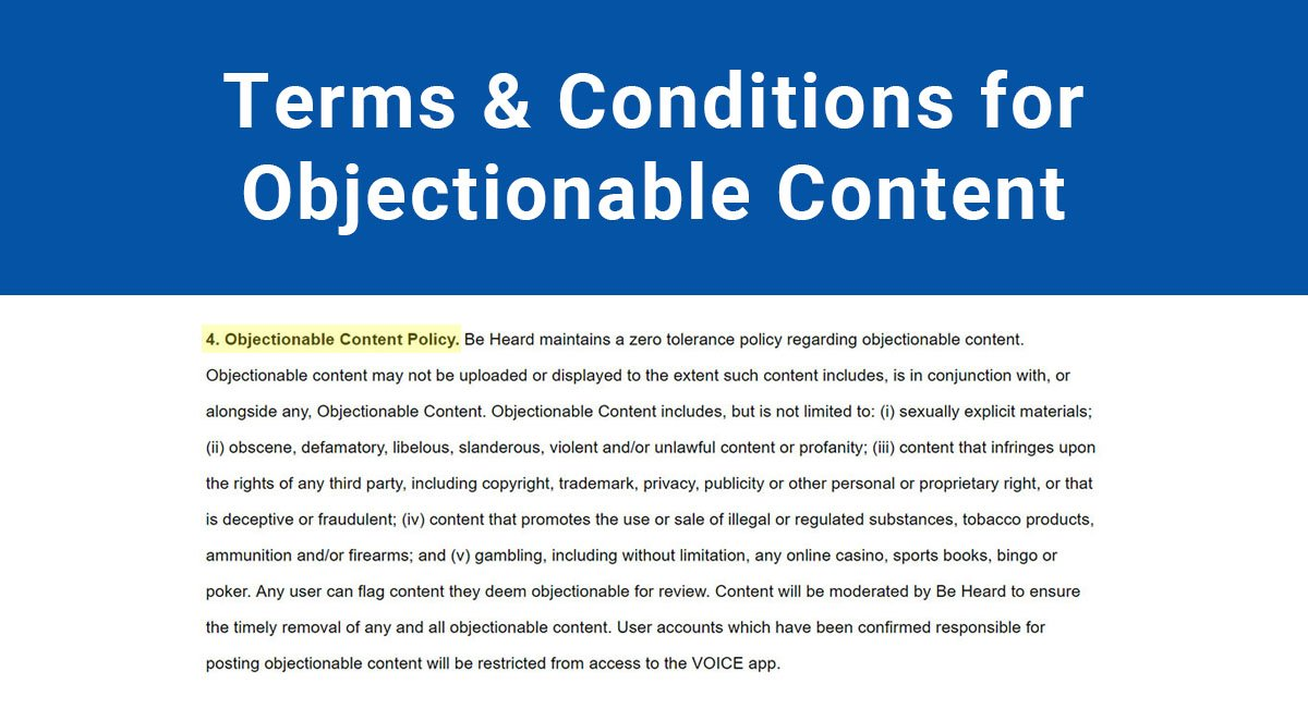 Terms & Conditions for Objectionable Content