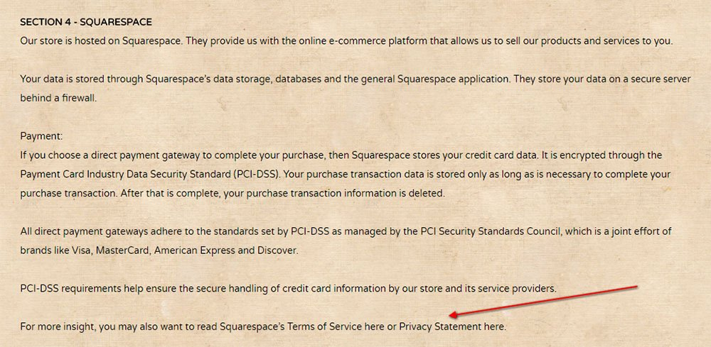 Privacy Policy of Onyx Coffee Lab: Squarespace clause