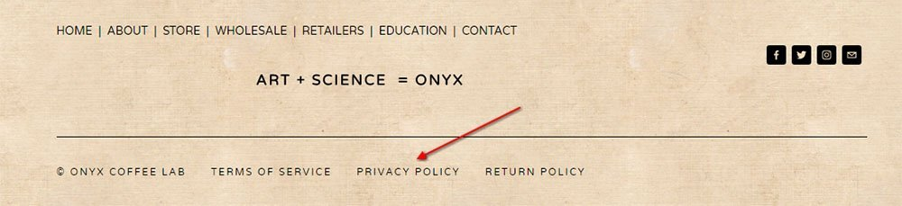 Onyx Coffee Lab website footer: Link to Privacy Policy