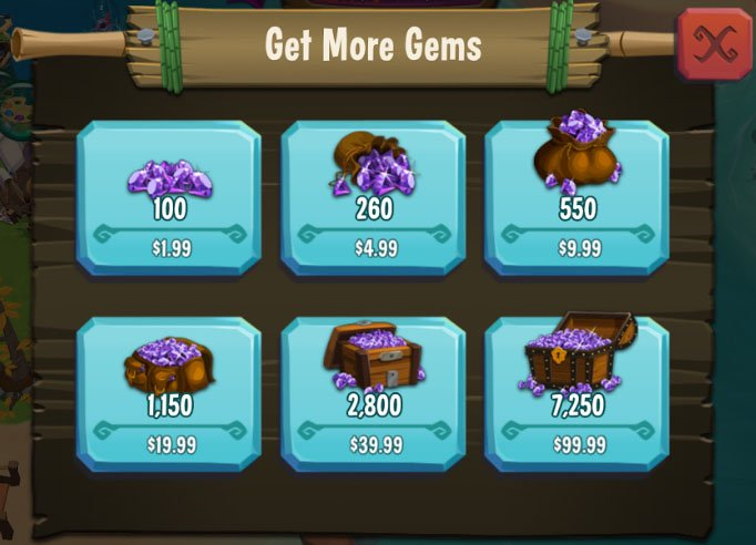 Paradise Bay mobile game: Gems as in-in purchases