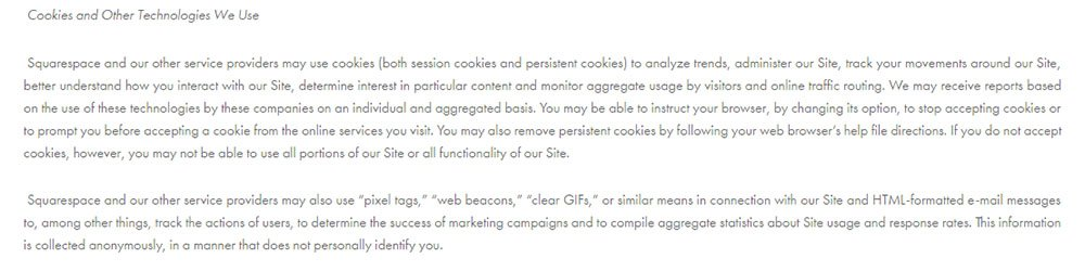 Privacy Policy of Pixel Fondue: Cookies may be used by Squarespace
