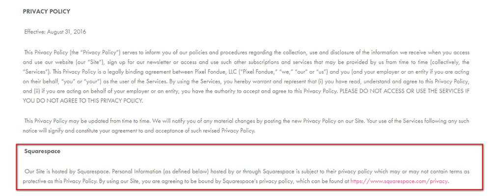 Privacy Policy of Pixel Fondue: Squarespace clause