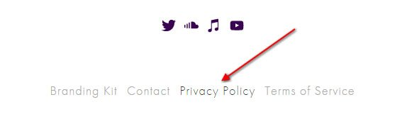 Pixel Fondue website footer: Link to Privacy Policy