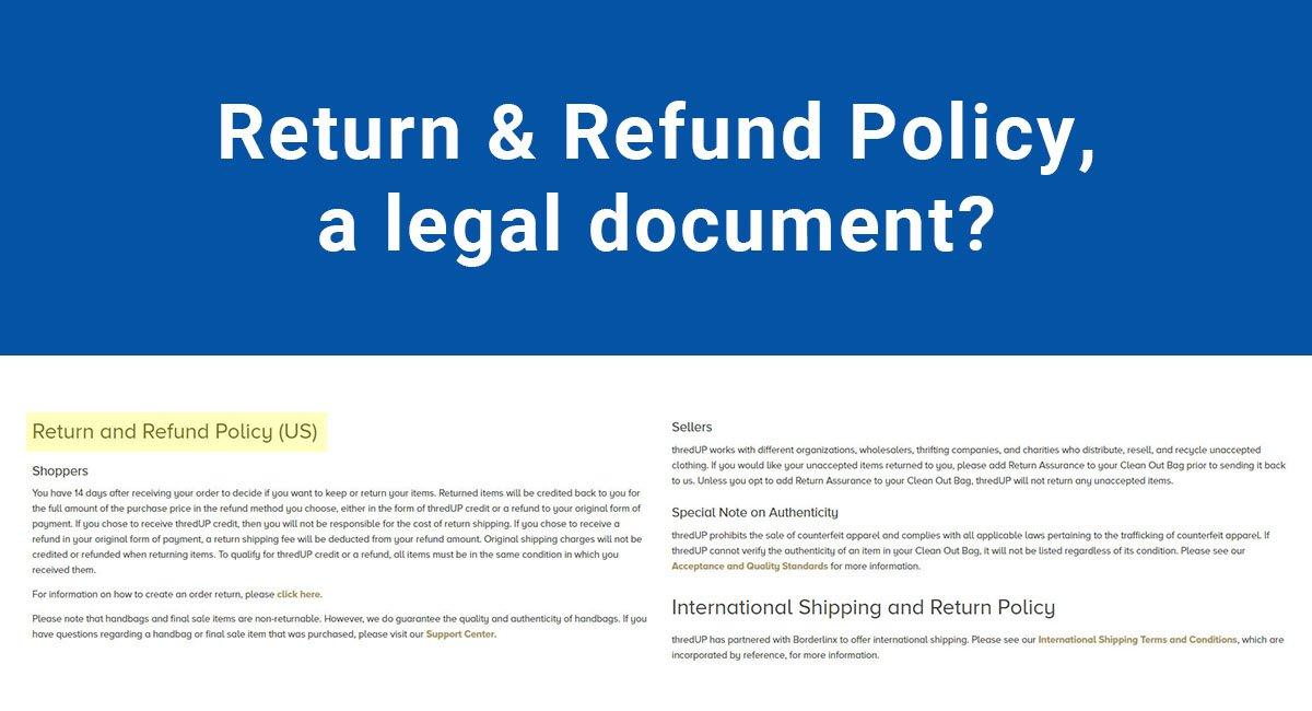 Is The Refund Return Policy A Legal Document TermsFeed - Us legal documents