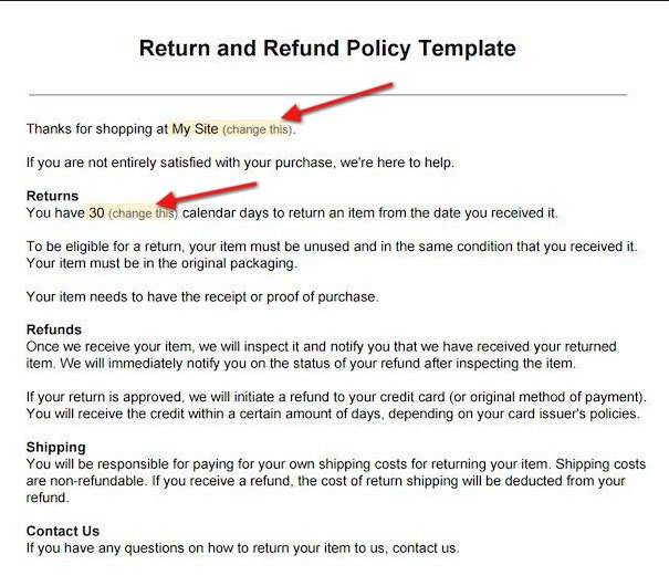 Screenshot from Return/Refund Policy Template: Update information