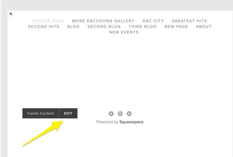 Squarespace, Footer Content: Edit button