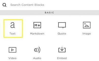 Squarespace, Block Menu: Text Block