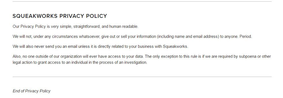 Privacy Policy if Squeakworks is short and simple