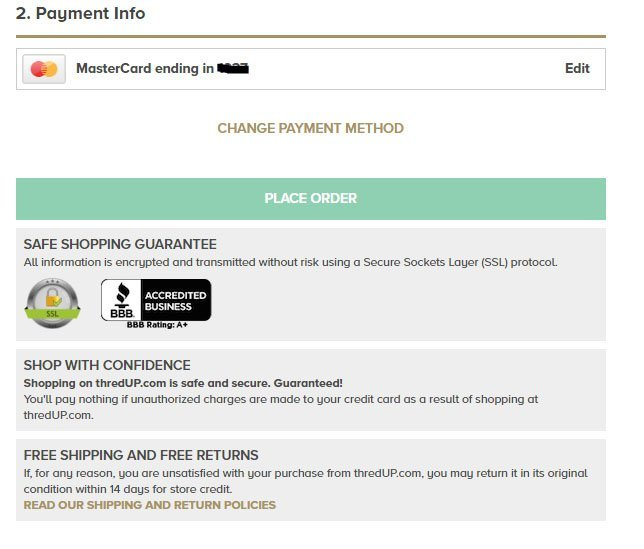 thredUP Place Order page: References to Return Policies
