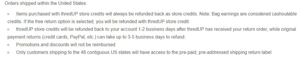 thredUP: Return & Refund Policy with Types of Refunds