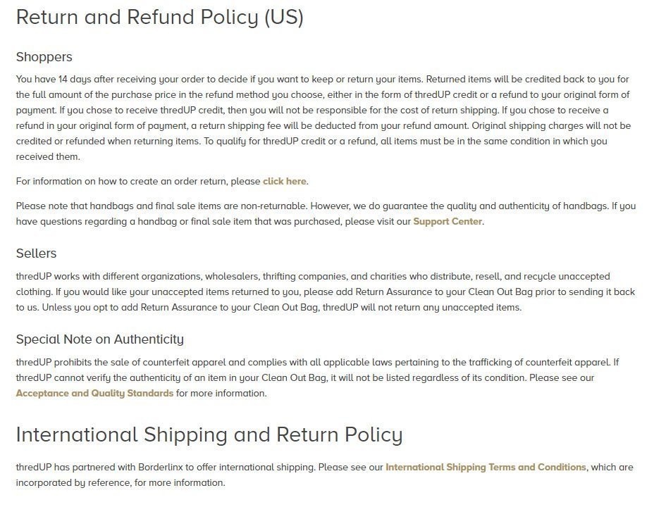 thredUP: Return & Refund Policy inside Terms & Conditions screenshot
