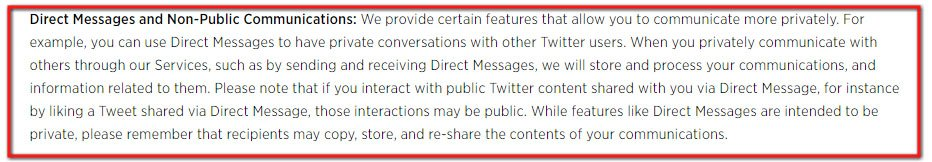 Twitter Privacy Policy: Direct messages and Non-public communications