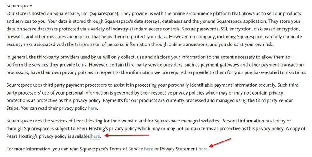 Privacy Policy of Under the Ficus: Link to Squarespace and Peer1 Hosting agreements