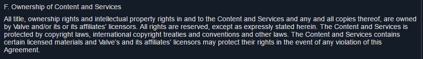 Valve Subscriber Agreement: Intellectual Property