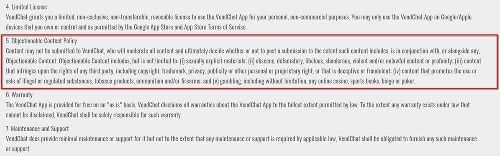 Vendchat Terms & Conditions: Clause of Objectionable Content