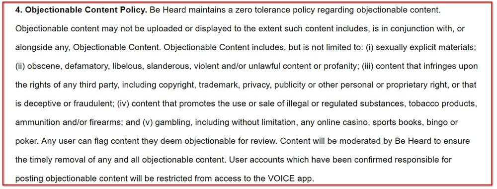 Objectionable Content Policy in the Terms of Use for Voice the App