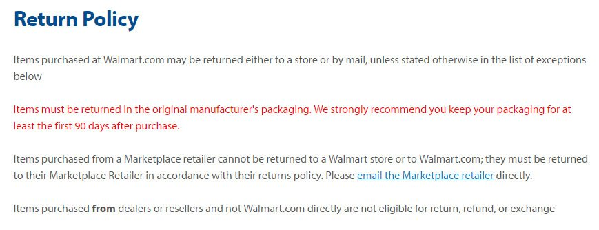 Walmart Return Policy: Original packaging as a return conditions