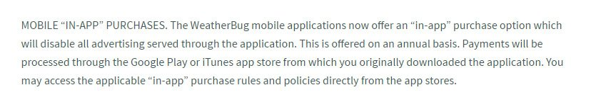 WeatherBug Terms of Use: In-app purchases clauses