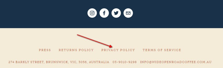 Wide Open Road Coffee website footer: Link to Privacy Policy