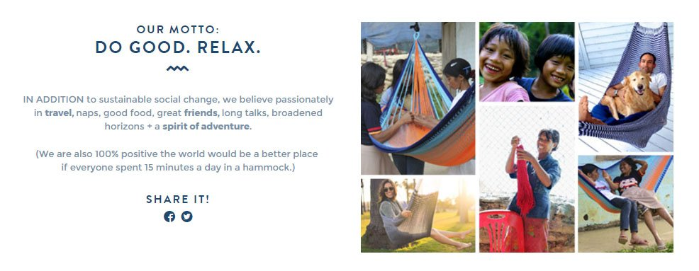 Yellow Leaf Hammocks About Us page: Moto section with text and images