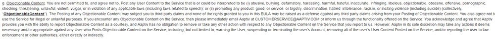 Aaptiv EULA & Terms of Service: Definition of Objectionable Content