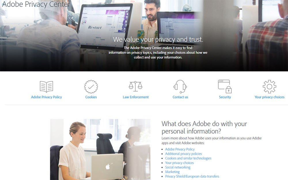 Screenshot of Adobe Privacy Center