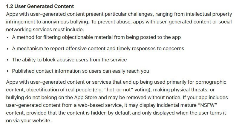 Apple App Store: Policy on User-Generated Content
