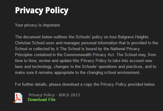 Belgrave Heights on Weebly: Privacy Policy page screenshot