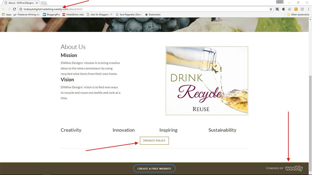 DiWine Designs, a Weebly powered website: Link to Privacy Policy