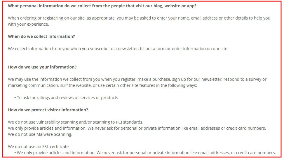 Screenshot of DiWine Designs Privacy Policy, a website powered by Weebly