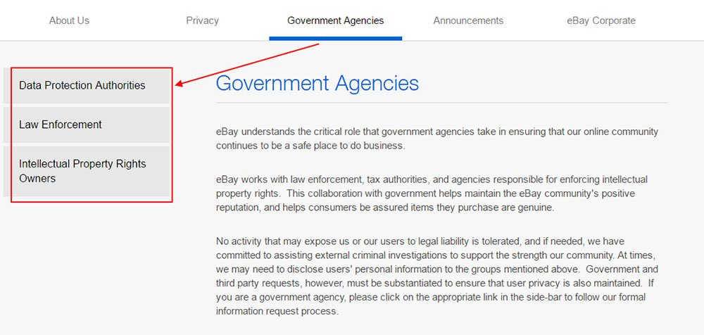 Example of Government Agencies section from eBay Privacy Center