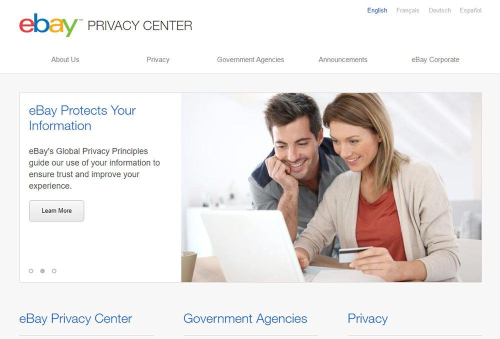 Screenshot of eBay Privacy Center
