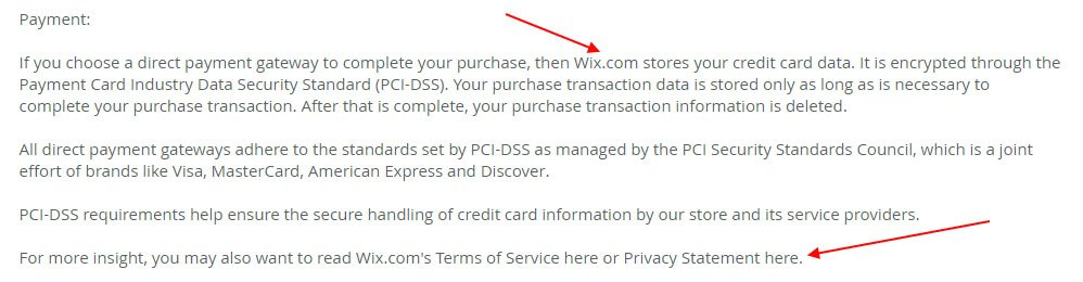 Privacy Policy of Farm to Fork: Payment information section includes Wix references