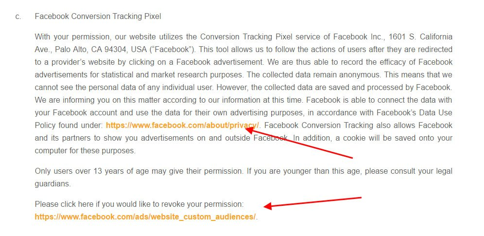 Goodgame Studios Privacy Policy: Facebook Conversion Tracking Pixel Retargeting