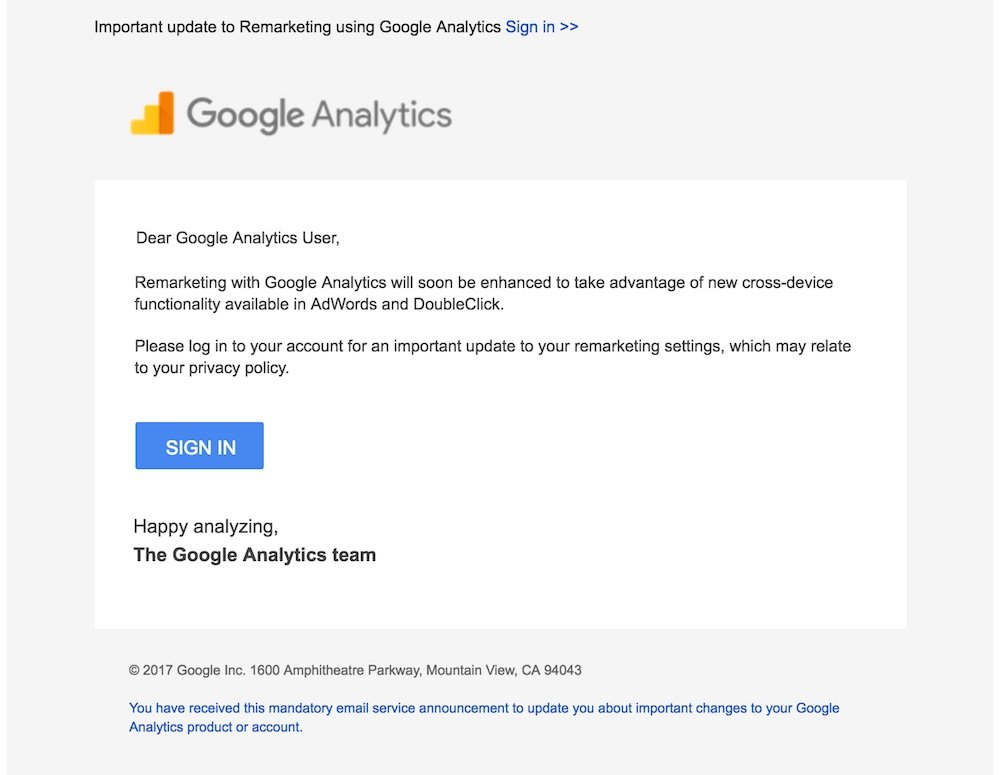 Email in May 2017 from Google Analytics on Cross-Device Remarketing Update