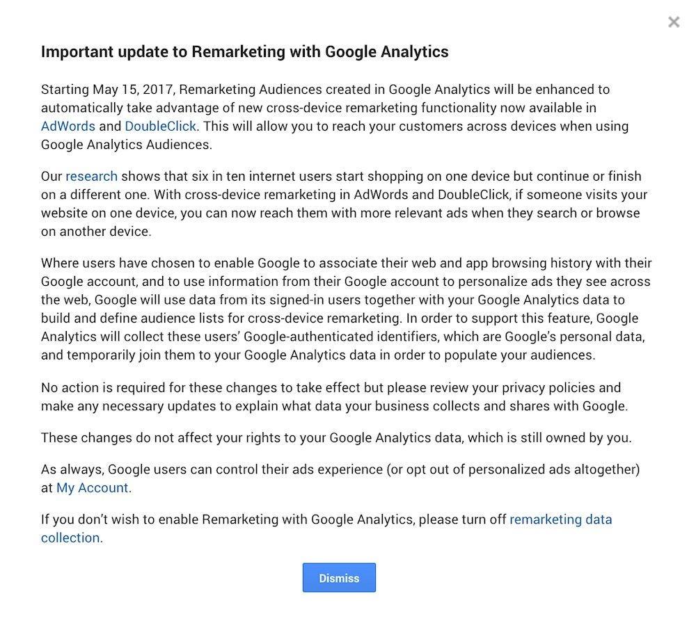 Important update to Remarketing with Google Analytics in May 2017