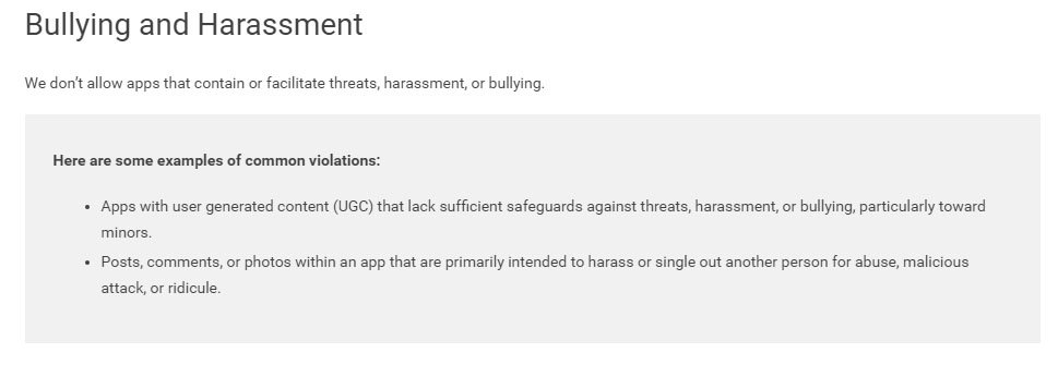 Google Play Store User-Generated Content Policy: Bullying and Harassment