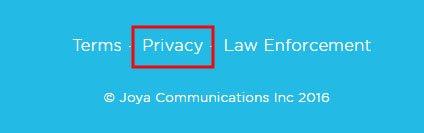 Joya, a Weebly website: Footer links to Privacy Policy
