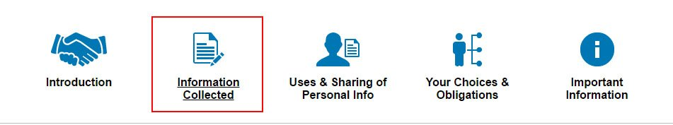 LinkedIn Privacy Policy page: Section Icons