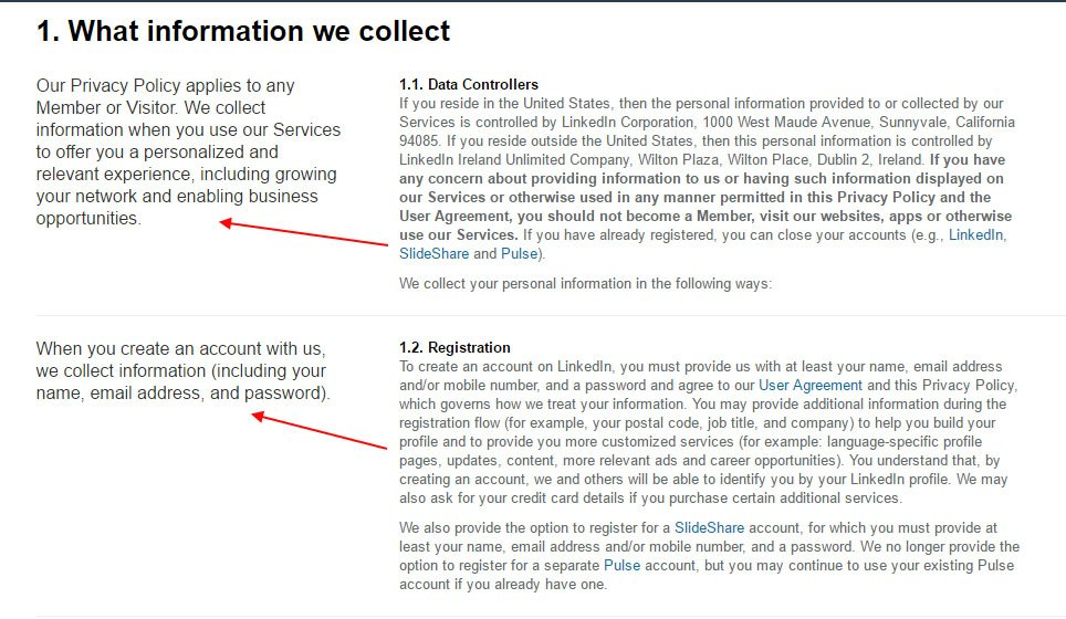 LinkedIn Privacy Policy page: Summary paragraph examples