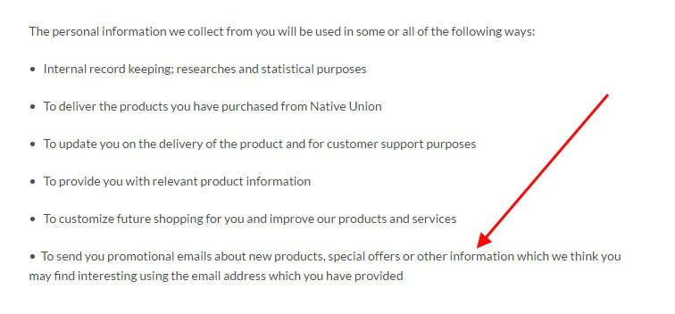 Native Union Privacy Policy on CAN-SPAM: Sends Promotional Emails to users